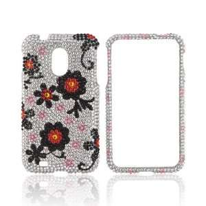 For Samsung Epic 4G Touch Black Red Daisies Silver Bling