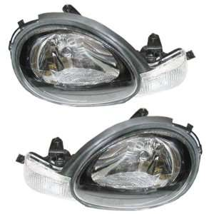 00 02 Plymouth/Dodge Neon Black Bezel Headlights Headlamps Head Lights