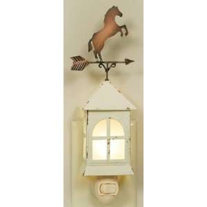 Primitive Weathervane Horse Night Light, Distressed White