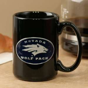 Nevada Wolf Pack Black 15oz. Pewter Logo Ceramic Mug