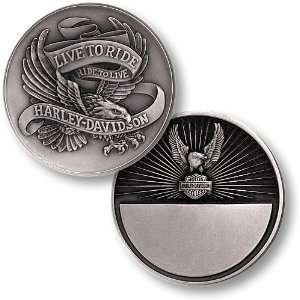 Harley Davidson Live To Ride, Eagle Nickel Antique Coin
