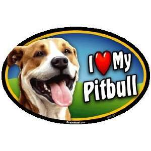 Oval Car Magnet   I Love My Pit Bull