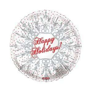 Happy Holidays Snowflake White Red Dots Festive Winter
