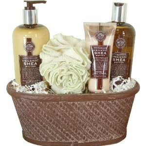 Spa Pampering Gift Basket with Organic Shea Butter Products