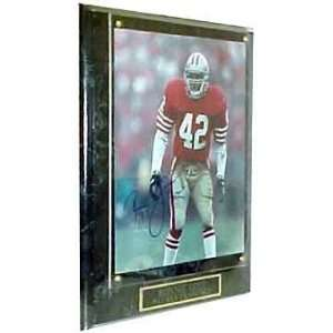 NFL 49ers Ronnie Lott # 42. Autographed Plaque Sports
