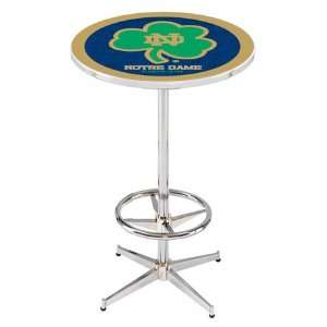 36 Notre Dame Shamrock Counter Height Pub Table   Chrome