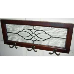 Antique Style Leaded Glass Frame Wall Decor w/ Hooks