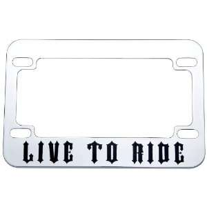Diamond Plate&trade Live to Ride Chrome Motorcycle License Plate Frame