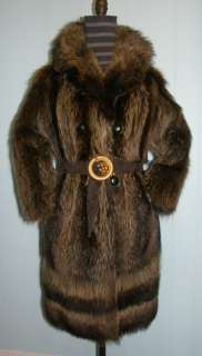 VINTAGE REAL RACCOON DRESS FUR COAT SIZE 8 10 WARM SOFT