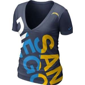 San Diego Chargers Womens Navy Nike Off Kilter Tri Blend Deep V Neck