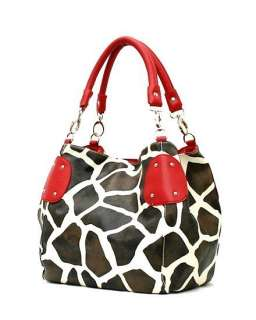 New LG Brown Giraffe Print Convertable Purse Handbag Tote Bag Red Trim