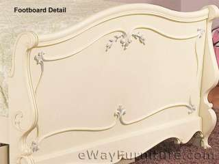 Girls White Solid Wood Sleigh Bed 4PC Kids Bedroom Set Childrens