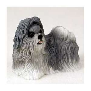 Shih Tzu Dog Figurine   Gray & White