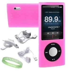 Pink Silicone Skin Case cover + Ipod Nano 5G Car Charger + Ipod Nano