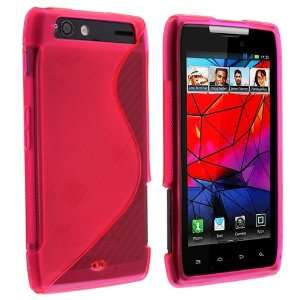 TPU Rubber Case for Moto Droid RAZR, Clear Hot Pink S