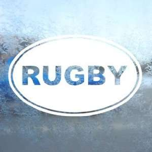Rugby EURO OVAL White Decal Car Laptop Window Vinyl White