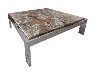 century modern style Chrome metal Marble Granite Coffee Table 1970s