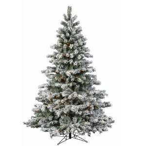 12 X 78 Flocked Aspen Christmas Tree LED 1400 WmWht Lights