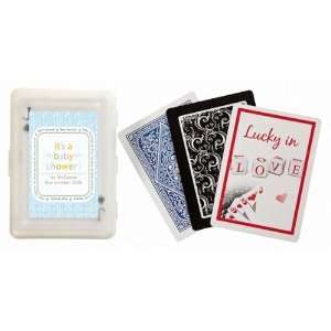 Wedding Favors Blue Its a Baby Shower Design Personalized Playing Card