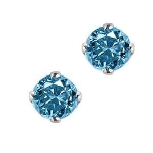 14K White Gold Blue Diamond Stud Earrings (1/2 ctw