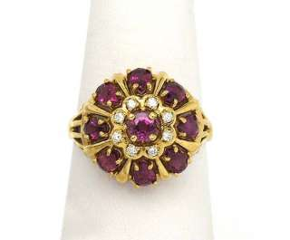 ADORABLE NEW 18K YELLOW GOLD, DIAMONDS & RUBIES FRANKLIN MINT RING