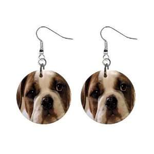 American Bulldog Puppy Dog Button Earrings A0009