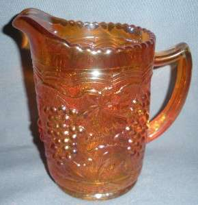IMPERIAL CARNIVAL GLASS 1 PT PITCHER GRAPES VINTAGE MARIGOLD