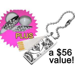 Earbuds + Glam 2GB Cute Bling USB Flash Drive in Lace