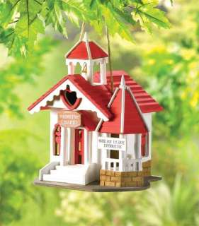 WEDDING CHAPEL CHURCH RED ROOF HEARTS AND CROSS IN WINDOW BIRD HOUSE