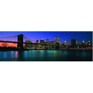 Panoramic Wall Decals   New York City Skyline with the Brooklyn Bridge