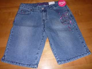 Girls Adjustable Waist Denim Jean SHORTS Plus Size 10.5 12.5 14.5 16.5