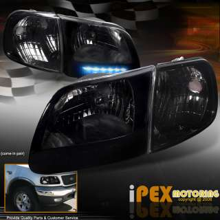97 03 Ford F150 *ULTRA BRIGHT LED DRL* Smoke Head Lights+Corner Signal