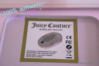 Juicy Couture Pink Rhinestone Crystal USB Wirelss Labtop Mouse NIB $68