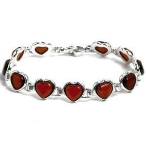 Baltic Cherry Amber Sterling Silver Hearts Shaped Bracelet