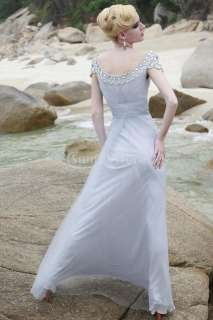 Gray A line Bateau Keyhole Cap Sleeve Evening Dress Gown Sale