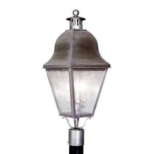 Vintage Pewter Amwell 3 Light 180W Post Light with Candelabra Bulb