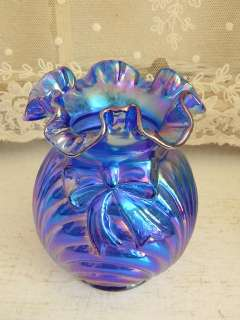 Drop Dead Gorgeous~Fenton Blue Carnival Glass Bow and Drape Vase~MINT