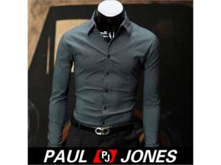 Mens Casual Slim fit Stylish Dress Shirts US SIZE XS S M L Black/White