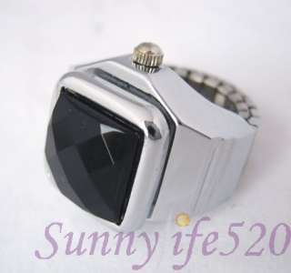 Cool Black Stainless Steel Mens women Finger Ring Watch
