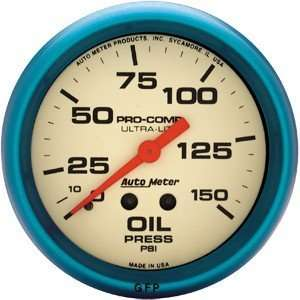 Ultra Nite 2 5/8 0 150 PSI Mechanical Oil Pressure Gauge Automotive