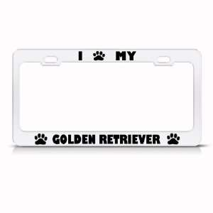 Golden Retriever Dog White Metal License Plate Frame Tag