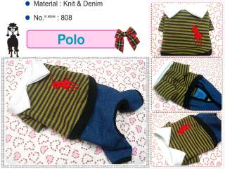 Small Dog Clothes Polo Costume Denim Knit Jumpsuit,808