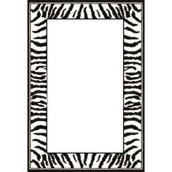 Collection Zebra Border Black/ White Rug (8 x 11)