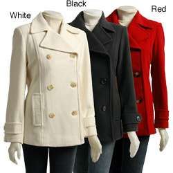 AK Anne Klein Womens Double breasted Pea Coat