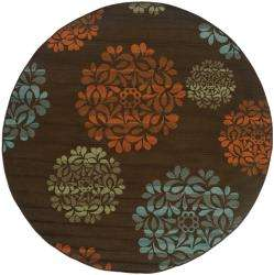 Caprina Brown/Blue Outdoor Area Rug (710 Round)