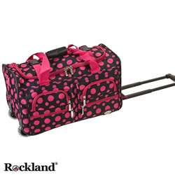 Black/Pink Dot 22 inch Carry On Rolling Duffel Bag