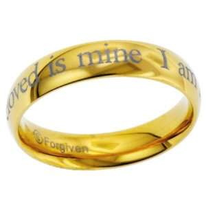 I am my beloveds Gold Finish Band Stainless Steel Ring