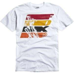 Fox Racing Strip T Shirt   Small/White Automotive
