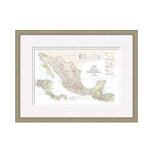 Map Of Mexico Central America Framed Giclee Print