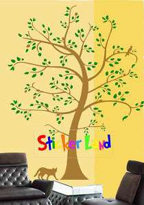 Big Tree With Cat Mural Wall Vinyl Sticker Decal 6 ft